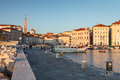 Harbour in piran at sunset slovenia europe view on Royalty Free Stock Photos