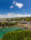 Harbour of Port Isaac with blue skies, Cornwall Royalty Free Stock Images