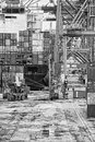 Harbour working place with containers ship and crane Royalty Free Stock Images