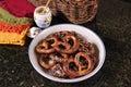 Hard baked pretzel plate Royalty Free Stock Images