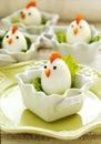 Hard boiled Chicken Egg Family. Easter food for kids