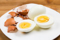 Hard boiled egg yoke with peeled and shattered shells on plate Royalty Free Stock Photography