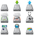 Hard disc management icons Stock Photo