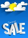 Hard discount summer sale with clouds and sun vector illustration Royalty Free Stock Image