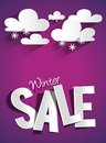 Hard discount winter sale with clouds and snowflak snowflakes vector illustration Royalty Free Stock Photo