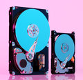 Hard discs illuminated in pink and blue colors Royalty Free Stock Photo