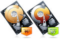 Hard disk drive hdd with price badge realistic detailed vector Stock Image