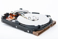 Hard disk drive inside photo of closeup view Royalty Free Stock Photos