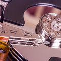 Hard disk drive internal components close up of a Royalty Free Stock Photos
