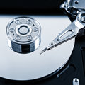 Hard disk drive toned photo of detail of the opened Royalty Free Stock Photography