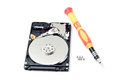 Hard disk drive on white a background for designers Stock Photography