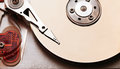 Hard disk opened computer drive closeup top view photo Royalty Free Stock Photos