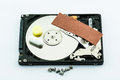 Hard disk recovery concept repair on white background Royalty Free Stock Photos