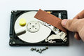 Hard disk recovery concept repair on white background Stock Photography