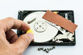 Hard disk recovery concept on white background Stock Image
