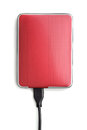 Hard disk red external drive isolated on white Stock Photography