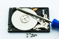 Hard disk repair concept on white background Royalty Free Stock Photography