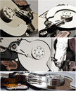 Hard disk storage collage Royalty Free Stock Photos