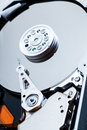Hard drive mechanism details and of the platters arm and spindle Royalty Free Stock Images