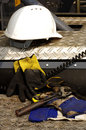 Hard hat adjustable wrench protective gloves construction detail Royalty Free Stock Photo