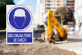 Hard hat area with text in spanish poster security construction Royalty Free Stock Image