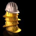 Hard hat boss white at the top of the stacking your text on black space clipping path included Royalty Free Stock Photos