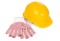Hard hat and gloves Stock Image