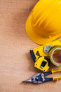Hard hat nippers construction level duct and Royalty Free Stock Photo