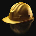 Hard hat over black helmet protection against impact on reflective background clipping path included Stock Photos