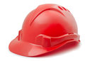 Hard hat red plastic isolated on white Stock Image