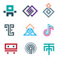 Hard lines simple pixel pictogram computer icon set Royalty Free Stock Photo