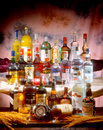 Hard Liquors Arrangement Royalty Free Stock Photos