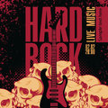 Hard rock banner with a guitar human skulls and the words Royalty Free Stock Images