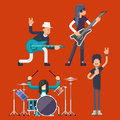 Hard Rock Heavy Folk Group Band Music Icons Guitarist Singer Bassist Drummer Concept Flat Design Vector Illustration