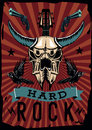 Hard rock poster with bull skull. Grunge style