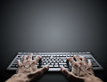 Hard typing on keyboard Royalty Free Stock Images