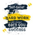 Hard Work is the key to all success. Rough poster design. Vector phrase on dark background. Best for posters, cards Royalty Free Stock Photo