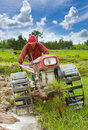 Hard working asian farmer Stock Photo
