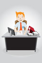Hard working night in office happy vector illustration Royalty Free Stock Photos