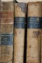 Hardback of 3 very old books Royalty Free Stock Photo
