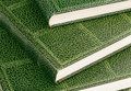 Hardcover books close up of with green leather Royalty Free Stock Photos