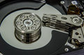 Harddisk inside an internal hard disk show a data record plate and reader Royalty Free Stock Images