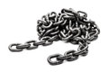 Hardened steel cargo lifting metal chain heavy industry white isolated Royalty Free Stock Photos