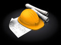 Hardhat and blueprints d illustration of with over black background Royalty Free Stock Photography