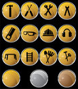 Hardware Icon Set: Gold Button Series - Round Stock Photos