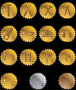 Hardware Icon Set: Seal Button Series - Gold Royalty Free Stock Photography