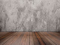 Hardwood floor and concrete wall texture Royalty Free Stock Photo