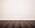 Hardwood floor with white wall panel Stock Images