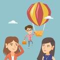 Hardworking employee flying away on a balloon.