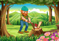 A hardworking lumberjack chopping woods at forest illustration of the Royalty Free Stock Images